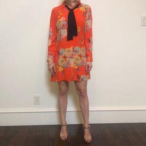 Zara, orange and blue floral button up dress.